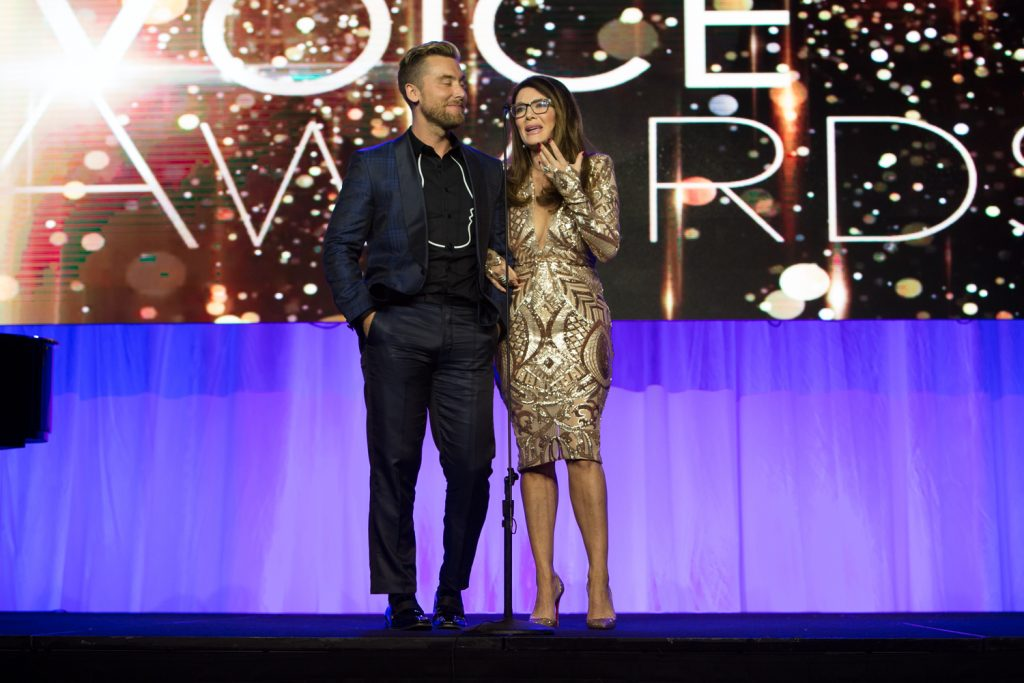 Lisa Vanderpump and Lance Bass presenting on stage – Voice Awards 2017